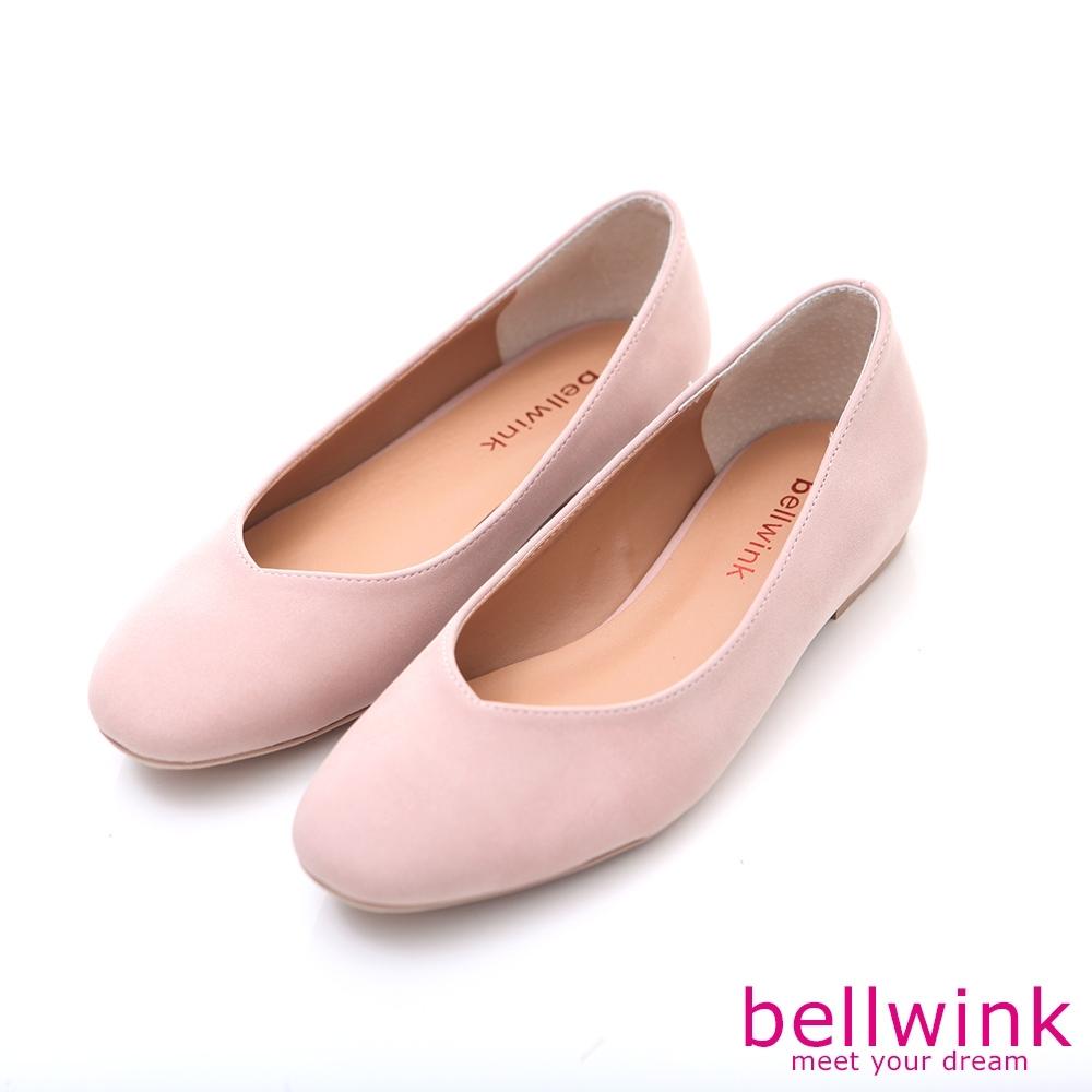 bellwink-圓方弧形頭平低包鞋-粉-b9704pk