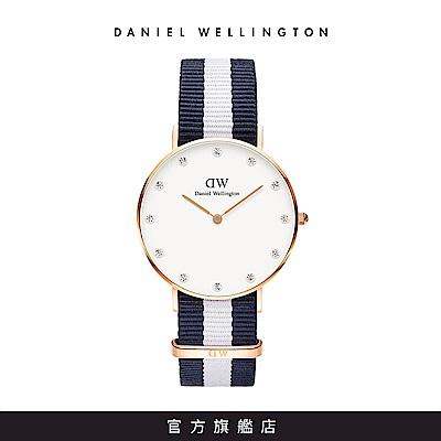 DW手錶 官方旗艦店 34mm玫瑰金框 Classy 百搭藍白織紋錶