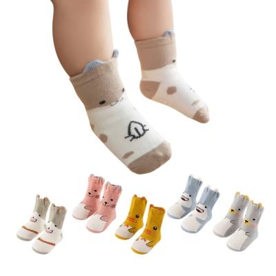 JoyNa【5雙入】兒童襪嬰幼寶寶立體動物聚會短襪防滑襪子