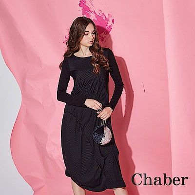 Chaber巧帛 時尚立體抓摺拼接條紋印花中長版造型洋裝-黑