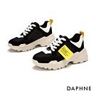 達芙妮DAPHNE  休閒鞋-活力撞色厚底街頭潮流運動鞋-黑