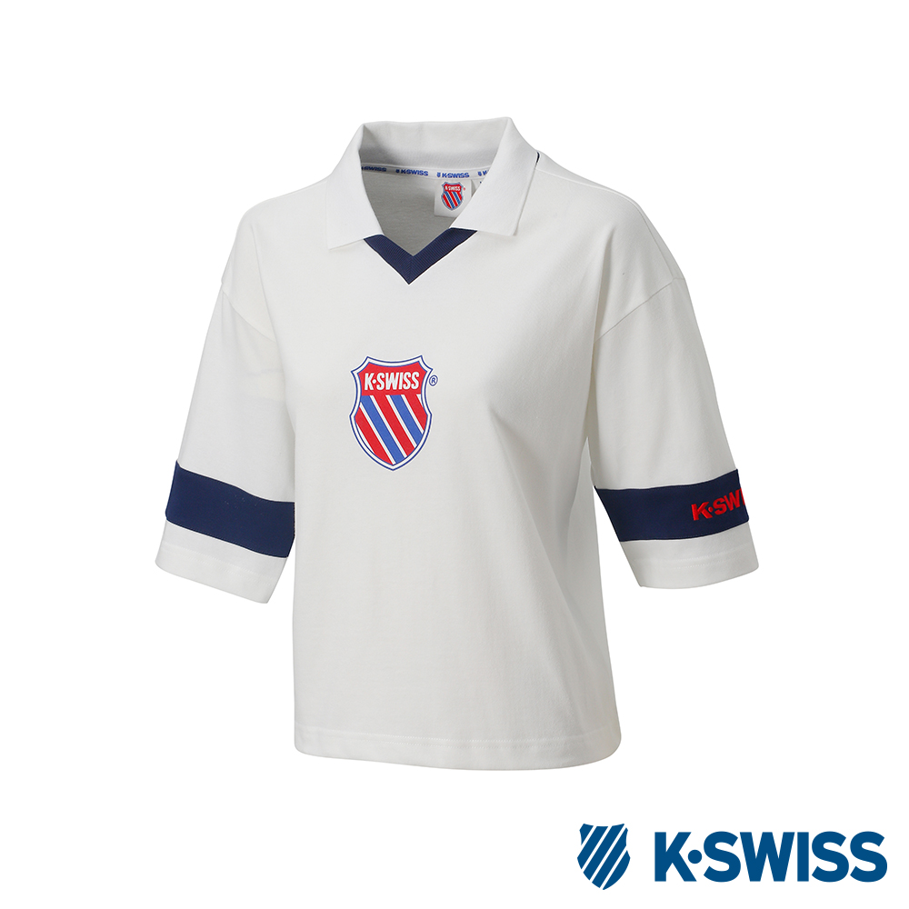 K-SWISS Loose Fit Polo短袖POLO上衣-女-白