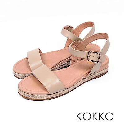 KOKKO - 淚光閃閃全真皮草編一字楔形涼鞋-美人裸