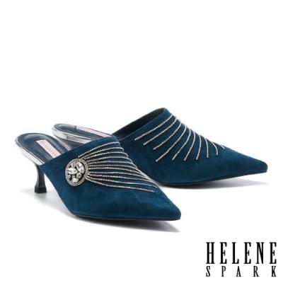 穆勒鞋 HELENE SPARK 高雅奢華流蘇晶鑽尖頭高跟穆勒拖鞋-藍