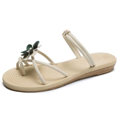 KEITH-WILL時尚鞋館 獨家價明星款小花花平底涼鞋-米