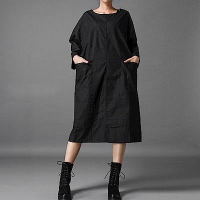 極簡造型大口袋寬版連身裙-(共三色)Andstyle