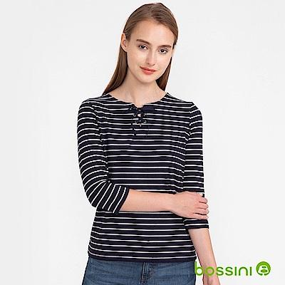 bossini女裝-七分袖條紋上衣02深藍色