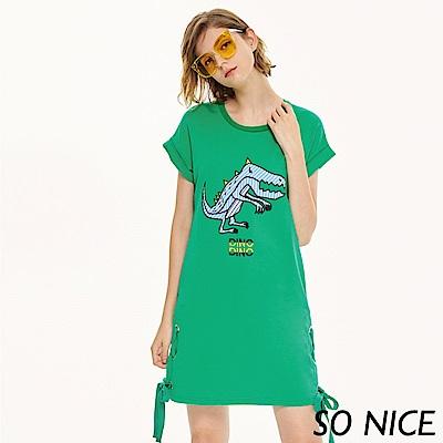 SO NICE夏日童趣恐龍羅馬布洋裝