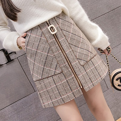 DABI 韓系拉鏈口袋包臀一片式格子半身裙單品短裙