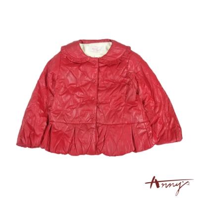 Annys可愛喜氣荷葉邊刷毛鋪棉厚外套*1284紅