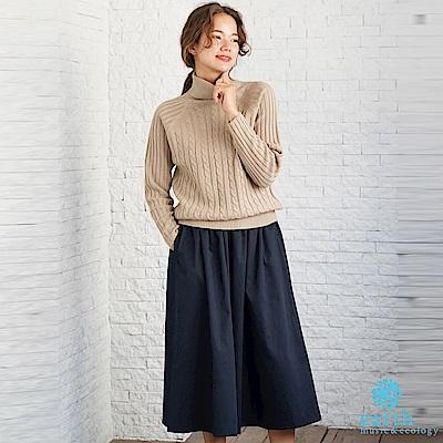 earth music 【SET ITEM】高領麻花辮針織上衣+定番素色寬褲裙
