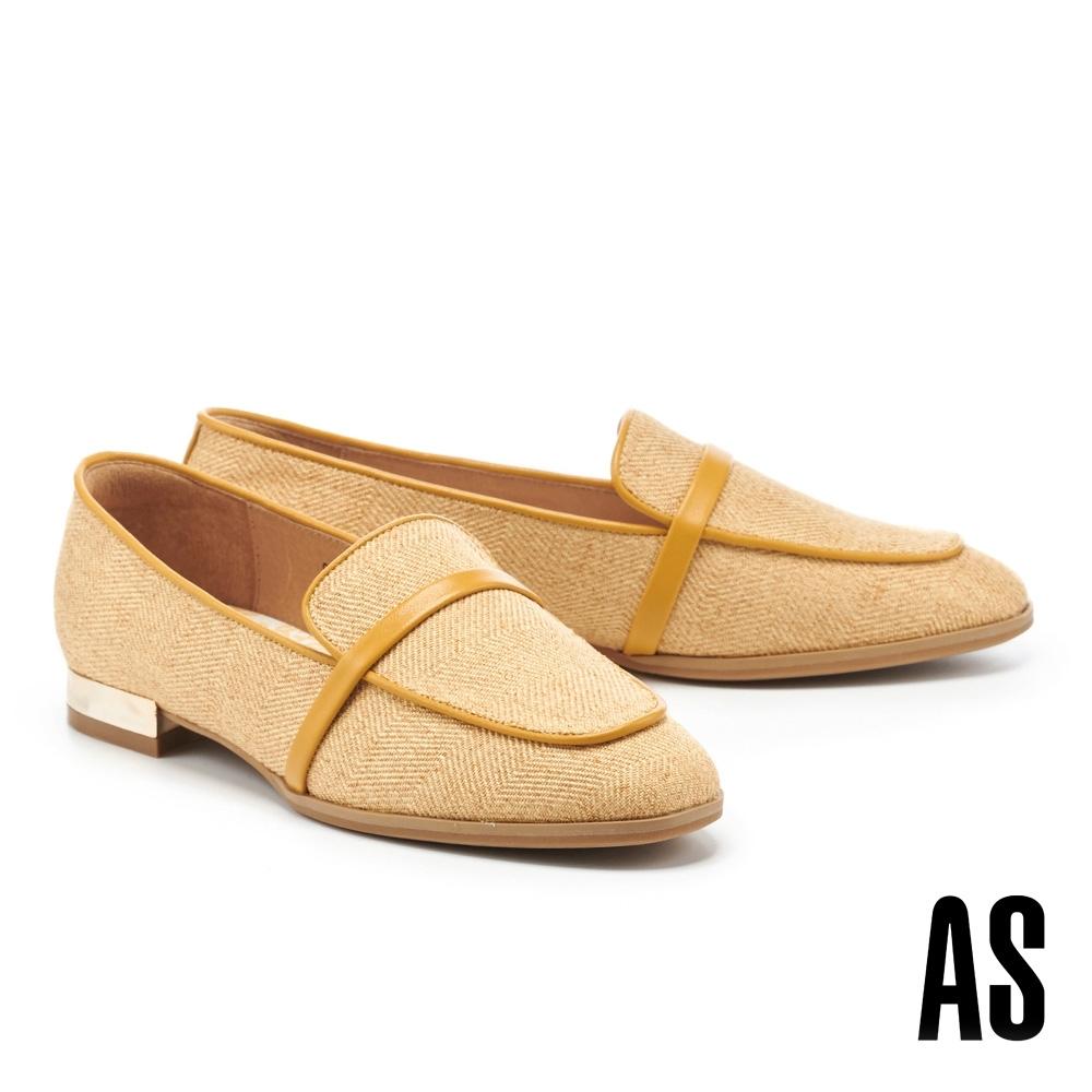 低跟鞋 AS 時髦雅痞異材質拼接羊皮方頭樂福低跟鞋-黃