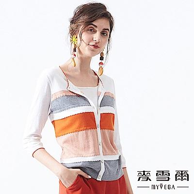 【麥雪爾】撞色條紋金蔥假兩件式上衣