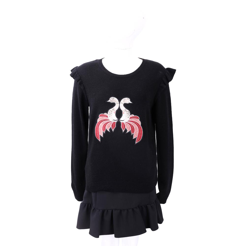 PINKO BENCHE 天鵝刺繡黑色針織羊毛衫