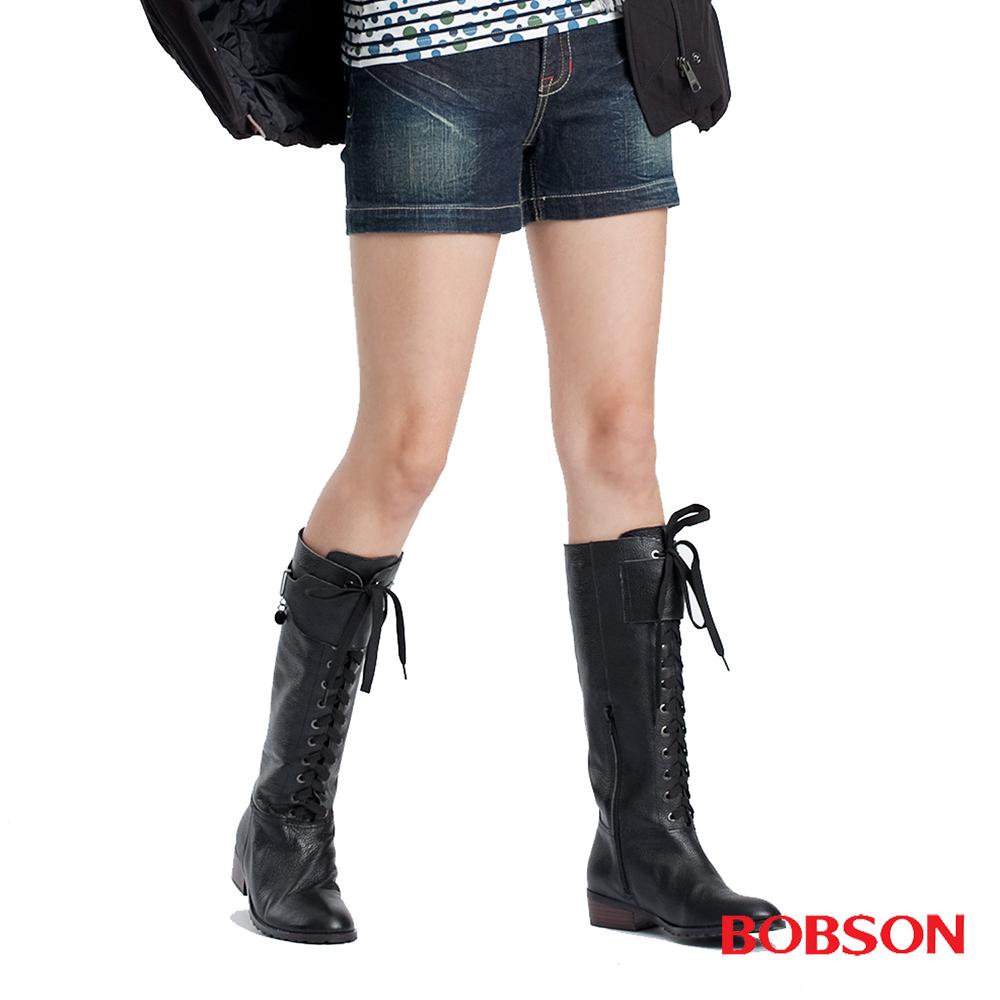 BOBSON 女款配色拉鍊牛仔短褲