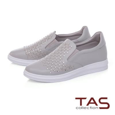 TAS菱格紋拼接水鑽牛皮休閒鞋-低調灰