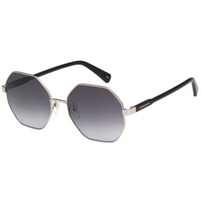 LONGCHAMP 金屬八角形 太陽眼鏡 (銀色)LO106