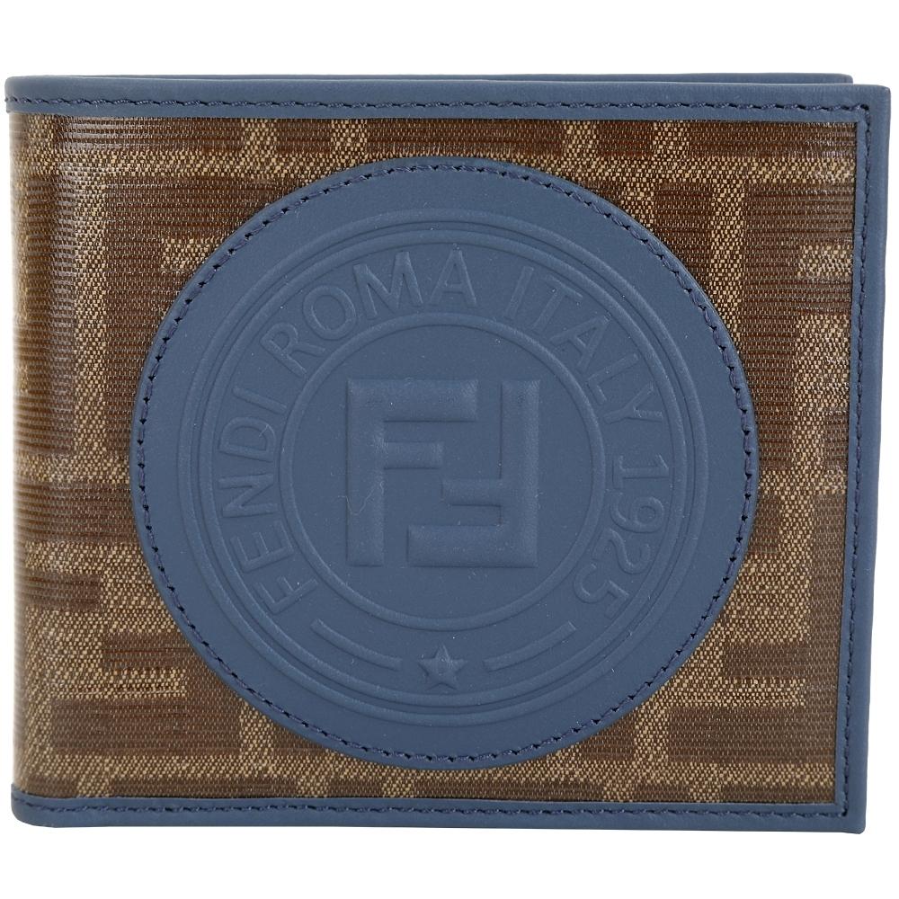 FENDI Stamp FF經典老花 釉面帆布對折短夾(莫蘭迪藍色)