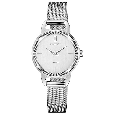 CITIZEN 星辰 簡約時尚米蘭帶手錶-EZ7000-50A-銀/26mm