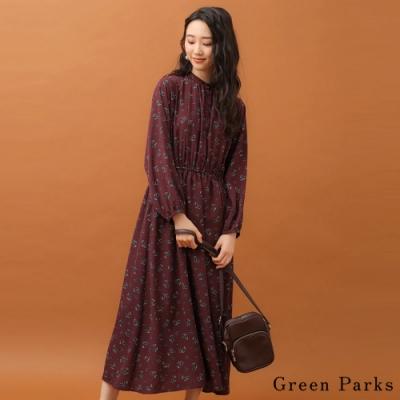 Green Parks 碎花朵圖案立領連身洋裝