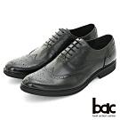 【bac】超輕量皮鞋 真皮雕花牛津紳士鞋-黑色