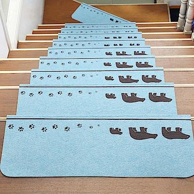 半島良品 可重覆黏貼樓梯止滑墊10入 三隻熊-粉藍