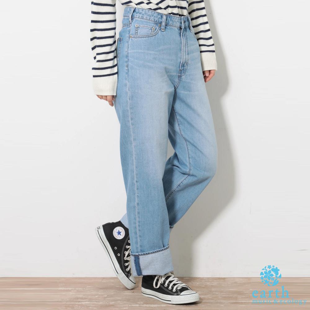 earth music 美國棉刷色寬直筒牛仔褲