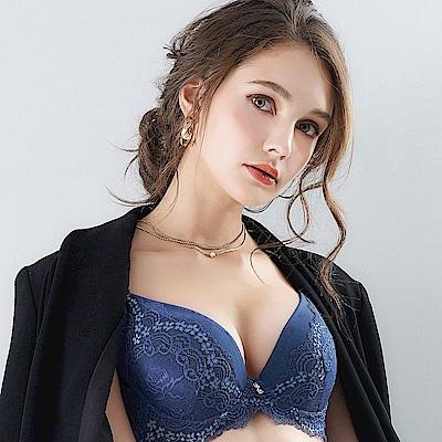 EASY SHOP-花氛宣言 美背款B-E罩成套內衣(沉穩藍)