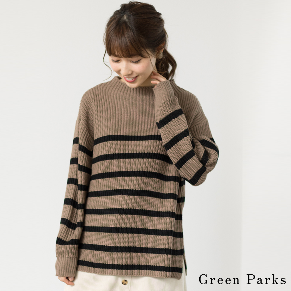 Green Parks 百搭橫紋粗針織上衣