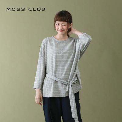 【MOSS CLUB】繫帶綁結條紋棉質-上衣(二色)