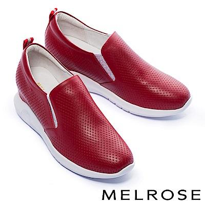 休閒鞋 MELROSE 簡潔純色沖孔全真皮內增高厚底休閒鞋-紅