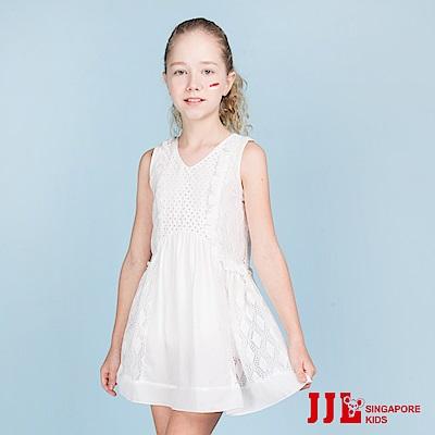 JJLKIDS 清新剌繡蕾絲花紋無袖洋裝(白色)
