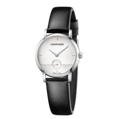 Calvin Klein CK極簡設計小秒針皮帶腕錶(K9H2Y1C6)32mm