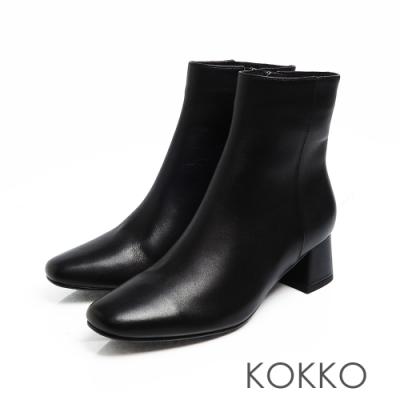 KOKKO -經典方頭粗跟靴-小黑