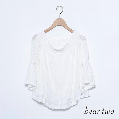 beartwo 一字領平口蕾絲上衣(二色)