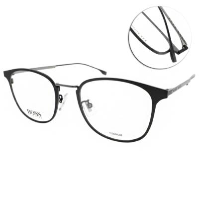 HUGO BOSS 光學眼鏡  純鈦LOGO細框 /霧黑-霧槍 # HB1030F O6W