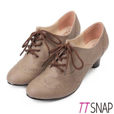 TTSNAP牛津鞋-MIT英倫雕花靜音牛津中跟鞋 咖啡