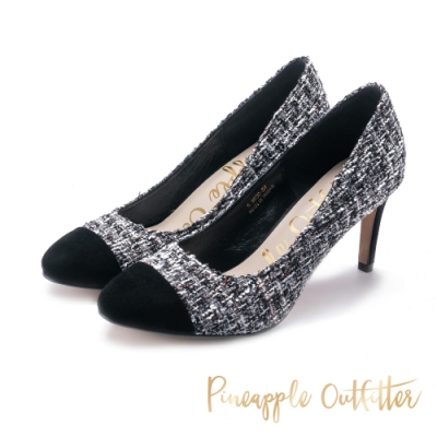 Pineapple Outfitter-RIVERIA法式拼接圓頭高跟鞋-特殊紋黑色