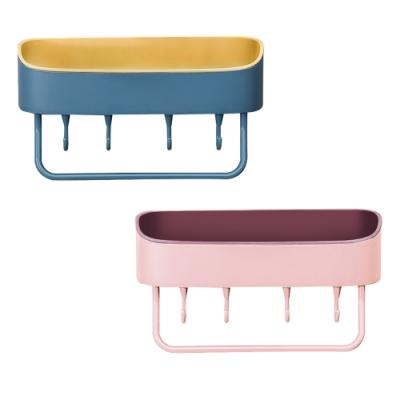 多功能 瀝水置物架 小清新 簡約北歐風 廚房 浴室 免鑽孔 收納盒 掛勾 整理盒