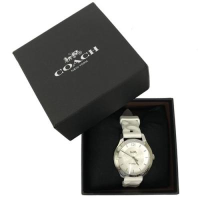 COACH 經典LOGO 錶面編織果凍錶帶女用手錶(米白)