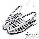 GDC-真皮亮面歐風編織質感簡約小羅馬設計涼鞋-銀色
