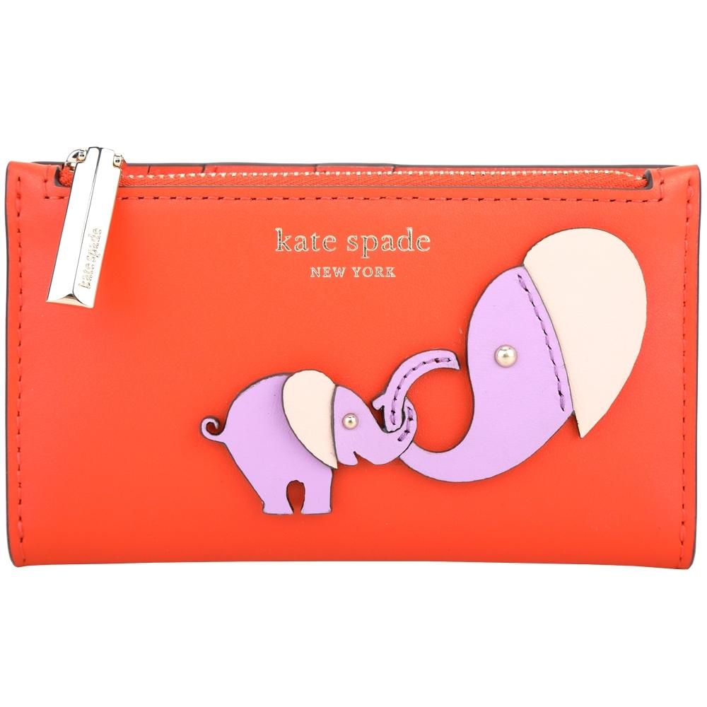 Kate Spade Tiny 撞色大象補丁對折釦式中夾(橘紅色)