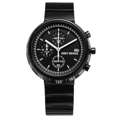 ISSEY MIYAKE 三宅一生 TRAPEZOID 梯形三眼不鏽鋼手錶-鍍黑/43mm