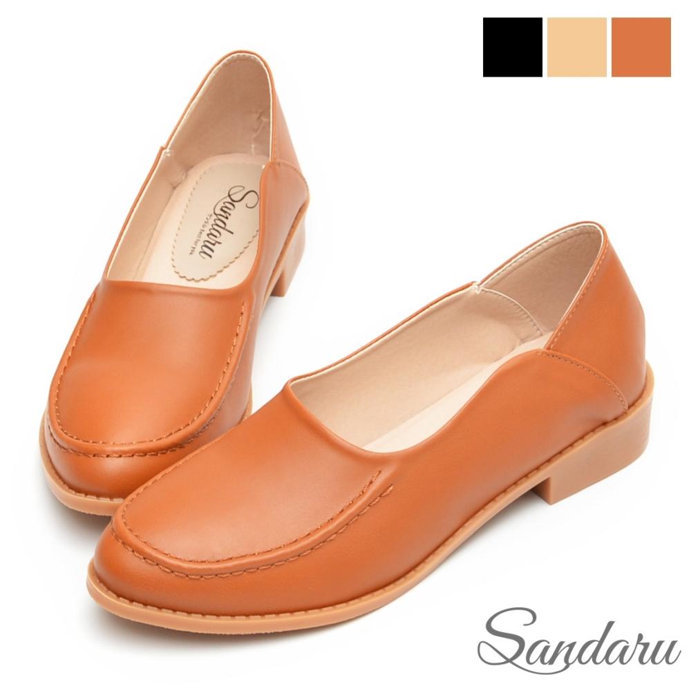 山打努SANDARU-樂福鞋 立體車線可後踩皮革低跟鞋-棕