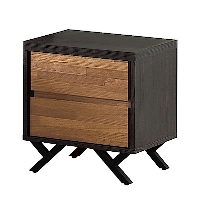 文創集 路華時尚1.3尺雙色床頭櫃/收納櫃-40x46x51cm-免組