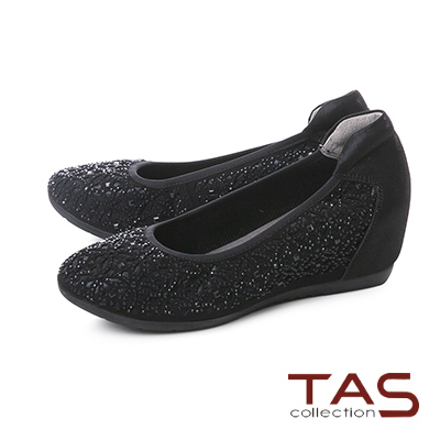 TAS水鑽雕花異材質拼接內增高娃娃鞋–閃耀黑