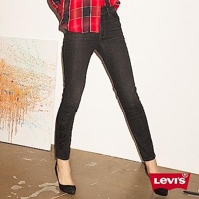 Levis女款 721高腰緊身窄管 亞洲版型 亞洲限量黑刺繡 彈性牛仔長褲
