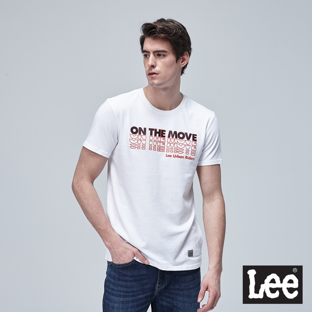 Lee短袖T恤 層次文字圓領-白-男