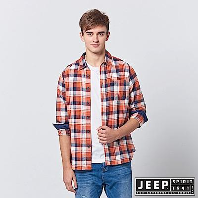 JEEP 法蘭絨格紋長袖襯衫-橘色