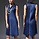 M@F摺衣 素雅清新風壓褶洋裝-藍 product thumbnail 1